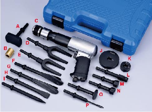 Spezial Vibrations - Drucklufthammer, Druckluftmeißel Set 21-teilig